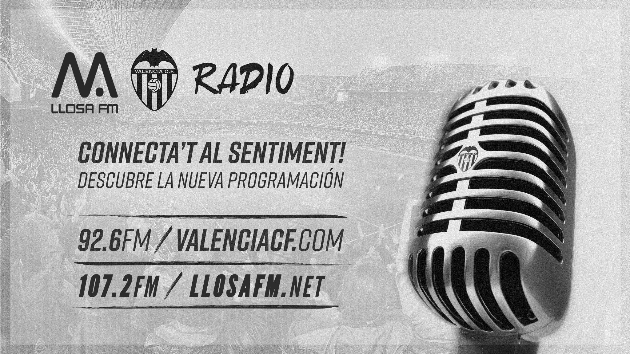 A partir de hui Llosa FM connectarà diàriament amb VCF Ràdio, la ràdio oficial del València CF