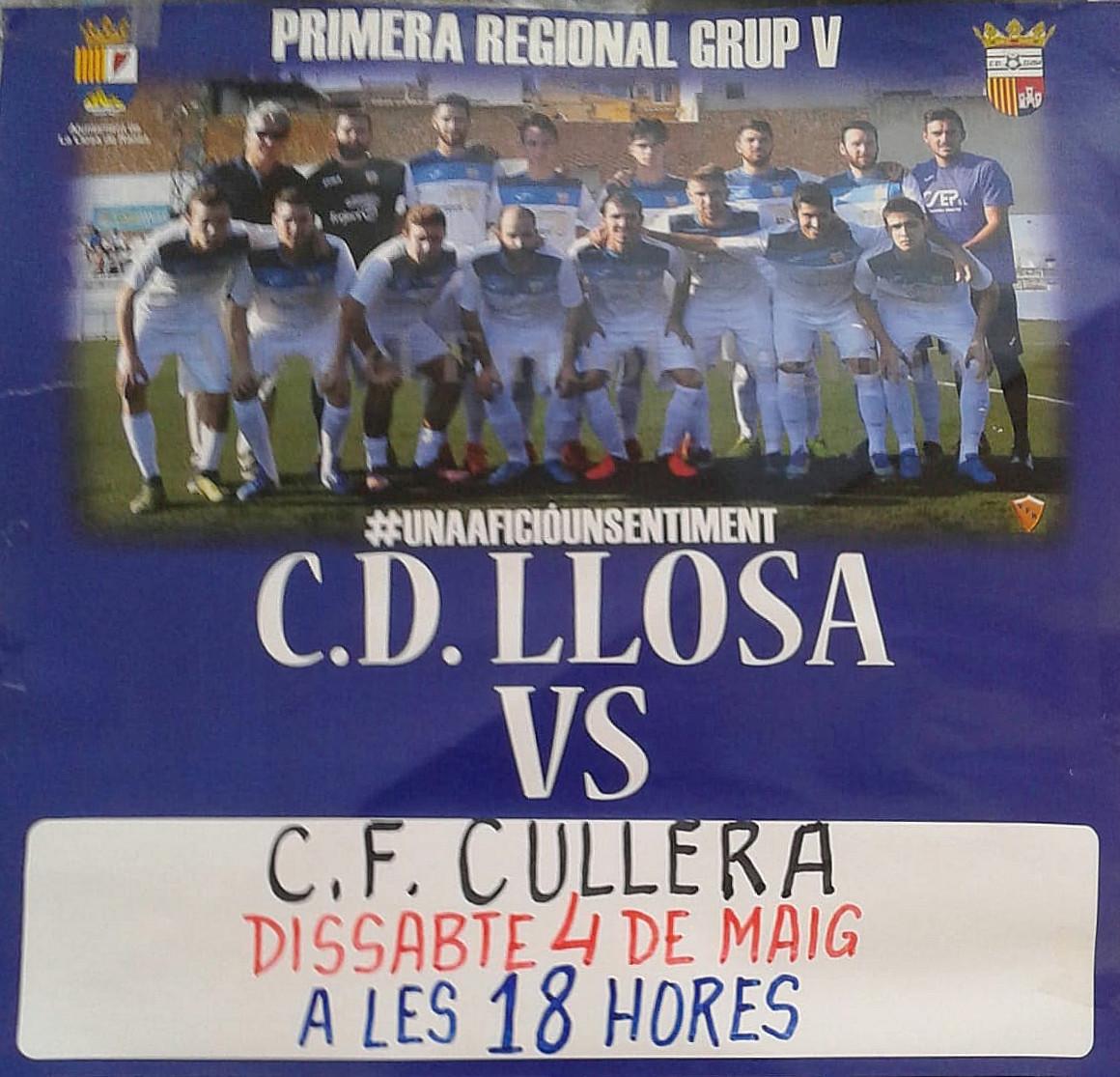 Llosa FM retransmetrà el dissabte 4 de maig en directe el partit decisiu entre el CD Llosa i el Cullera